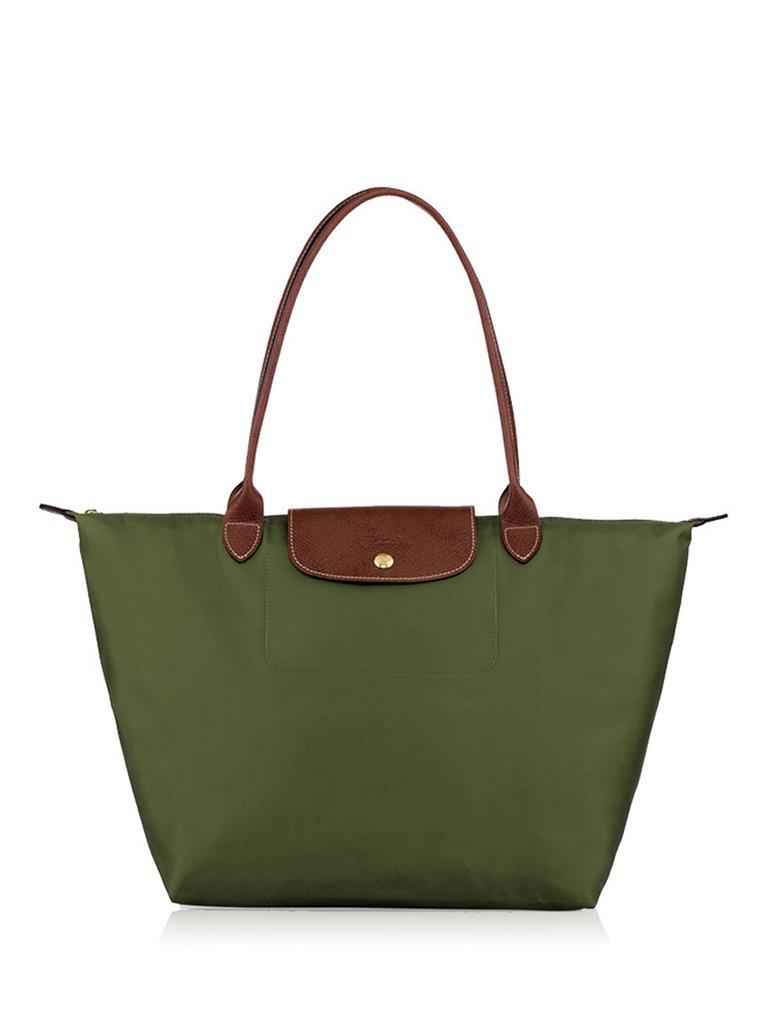 [長柄M號]國外Outlet代購正品 法國巴黎 Longchamp [1899-M號] 長柄 購物袋防水尼龍手提肩背水餃包 軍綠色 0