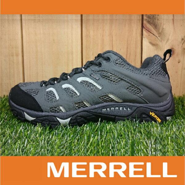 【出清7折!】萬特戶外運動 MERRELL MOAB GORE-TEX防水 男款低筒登山健行鞋 黃金大底 灰白