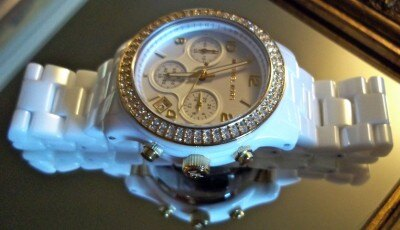 美國Outlet正品代購 MichaelKors MK 金色陶瓷 水鑽 三環 手錶 腕錶 MK5237 5