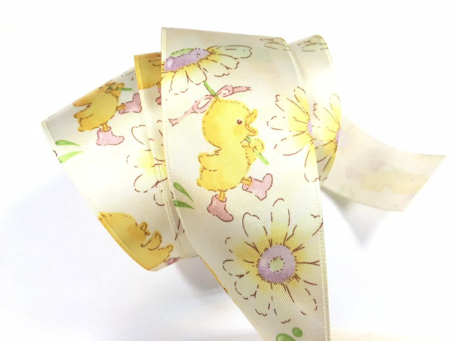 【Crystal Rose緞帶專賣店】黃色小雞單面緞緞帶 38mm 3碼 (4色) 1