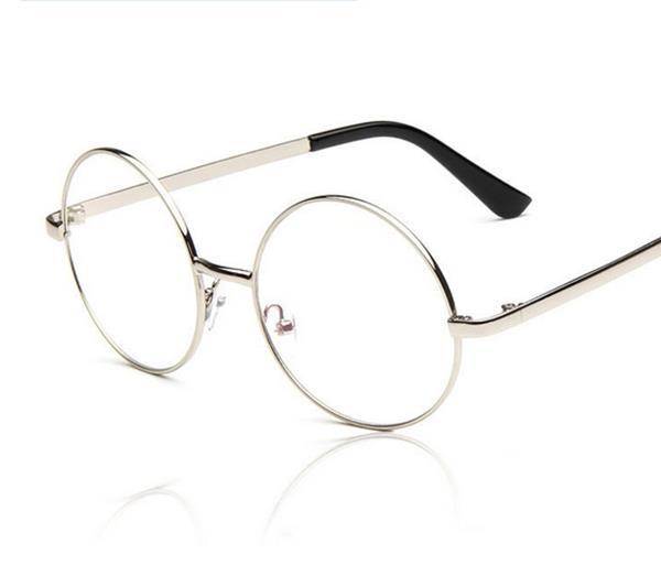 50%OFF【J004206Gls】原宿款全金屬潮人圓形復古眼鏡框批發 附眼鏡盒 防紫外線 明星款 反光鏡面