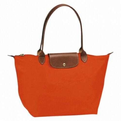 [長柄M號]國外Outlet代購正品 法國巴黎 Longchamp [1899-M號] 長柄 購物袋防水尼龍手提肩背水餃包 亮橘色 0