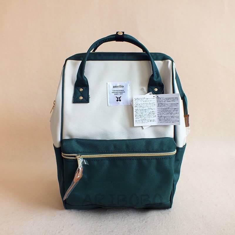 【日本anello】ANELLO 雙肩後背包 《大號》- 墨綠白 0
