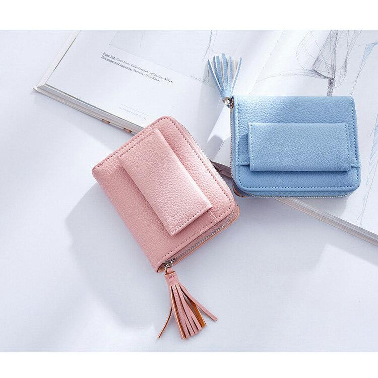 短夾 簡約流蘇拉鏈夾卡包錢包短夾【WNC5716-4】 BOBI  12/01 1