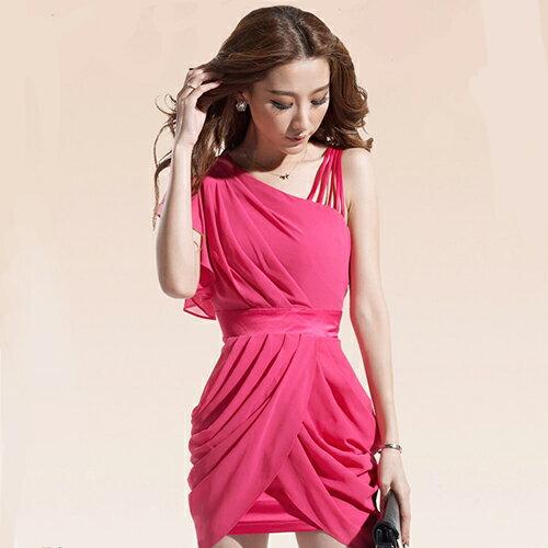 短洋裝-斜肩捲摺裙擺荷葉袖雪紡洋裝【29055】藍色巴黎《2色》現貨+預購 1