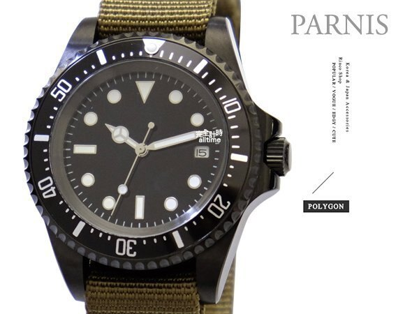 【完全計時】手錶館│PARNIS軍錶風格 經典水鬼自動機械錶 夜光 PA3104 現貨 新品 42mm l 預購