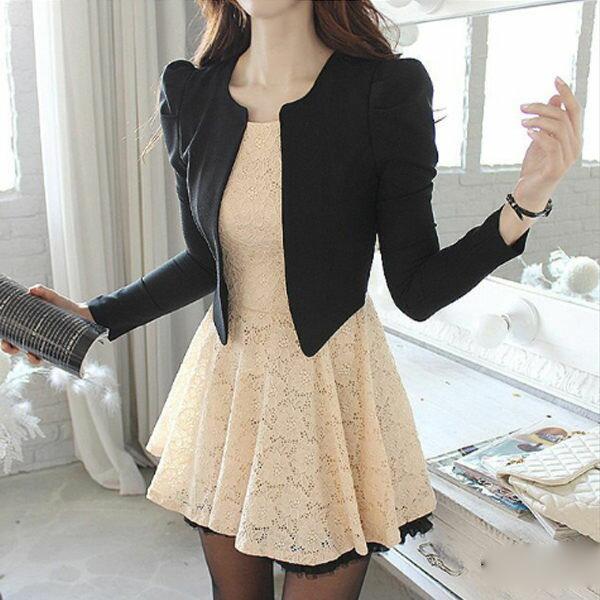 PS Mall 韓版氣質蕾絲假兩件式長袖外套連身裙 洋裝【T577】