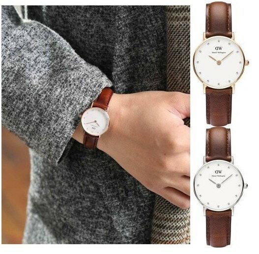 瑞典正品代購 Daniel Wellington 0900DW  玫瑰金鑽  真皮 錶帶 男女錶 手錶腕錶 26MM 1