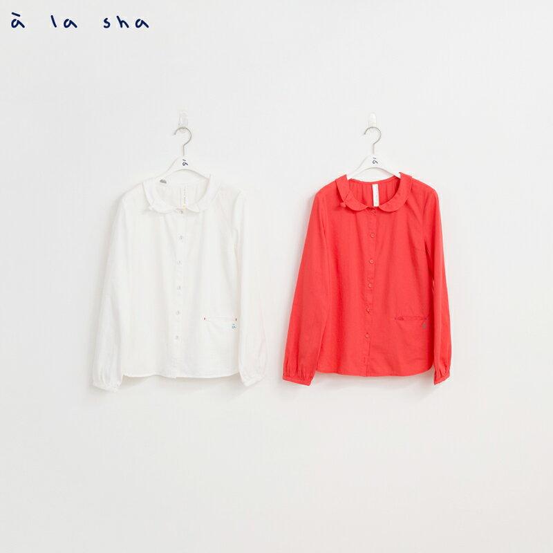 a la sha mucha 領邊小三角織片造型襯衫 1