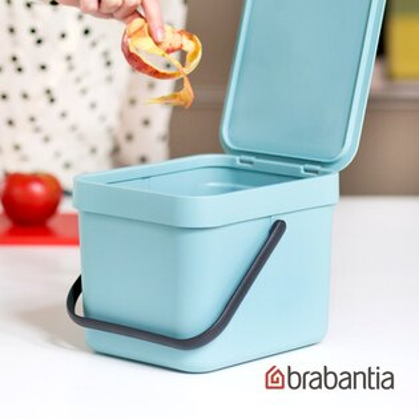 【荷蘭BRABANTIA】多功能餐廚置物桶6L-薄荷藍