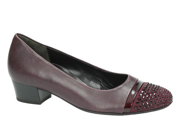 Gabor 鑽飾寬楦優雅低跟鞋 酒紅 6