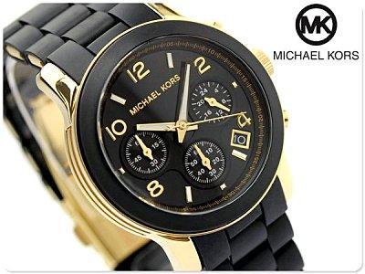 美國Outlet正品代購 MichaelKors MK 黑色橡膠 三環 運動風手錶腕錶 MK5191 0