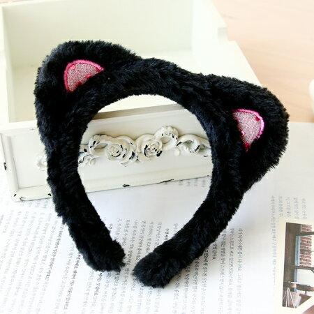 明星同款 毛茸茸貓耳朵髮箍 髮飾 髮圈 頭飾 頭箍【N201275】