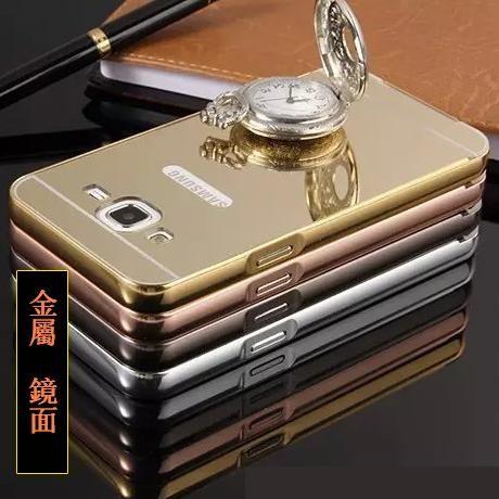 三星Galaxy J5 手機殼 電鍍金屬邊框帶鏡面背板後蓋 Samsung J5008 手機金屬保護套【預購】