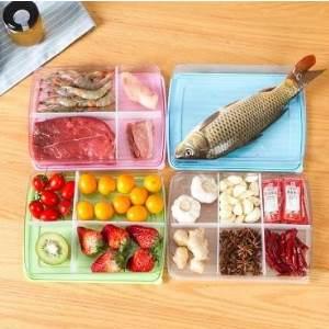 美麗大街【BF220E002E1】居家帶蓋分隔式保鮮盒 多用海鮮肉類食物防菌冷凍密封盒