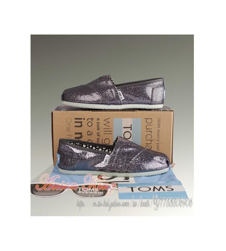[女款] 國外代購TOMS 帆布鞋/懶人鞋/休閒鞋/至尊鞋 亮片系列  灰色 2