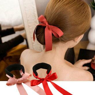 緞帶蝴蝶結盤髮器 丸子頭 包包頭 頭飾 髮飾 髮帶 髮圈 髮束 盤髮器【N100545】