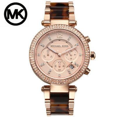 美國Outlet正品代購 MichaelKors MK玫瑰金玳瑁  陶瓷 水鑽 三環 手錶 腕錶 MK5538