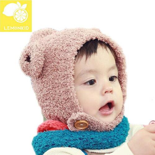 Lemonkid◆ 秋冬超萌小耳朵兒童加厚保暖寶寶帽純色捲毛羊護耳帽-卡其色