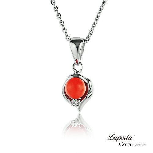 大東山珠寶 如意亨通全紅珊瑚項鍊墜飾