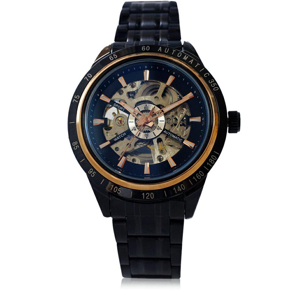 Wilon威龍 2060-IP 經典大器雙面鏤空 全自動機械錶 - 黑色 - 限時優惠好康折扣