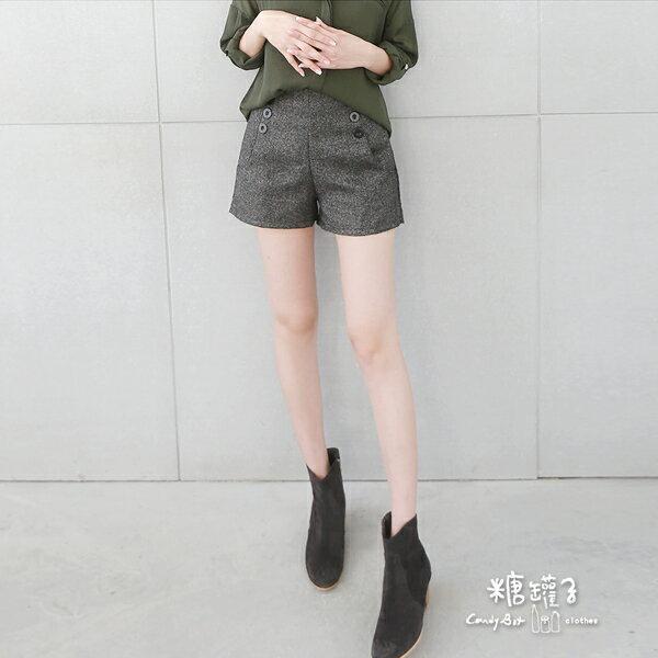 ★原價350下殺199★糖罐子雙排釦口袋後縮腰短褲→預購【KK4877】 1