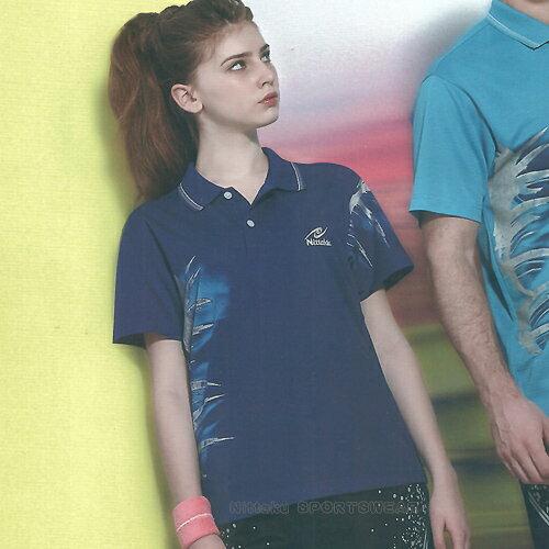 日本名牌Nittaku男女吸濕排汗(印刷圖騰)短POLO衫-深藍(#3623) 0