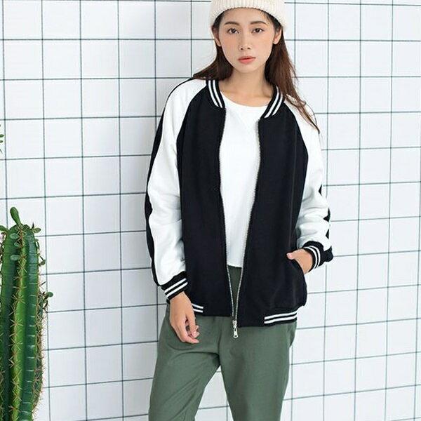 PS Mall 黑白條拼色短款拉鍊棒球衣短外套~T2803~ ~  好康折扣