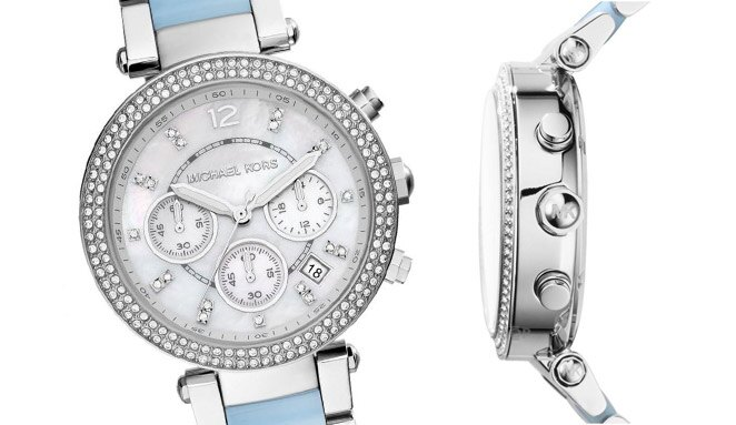 【MICHAEL KORS】正品  美式奢華休閒腕錶 水藍色錶盤水鑽 MK6138 2