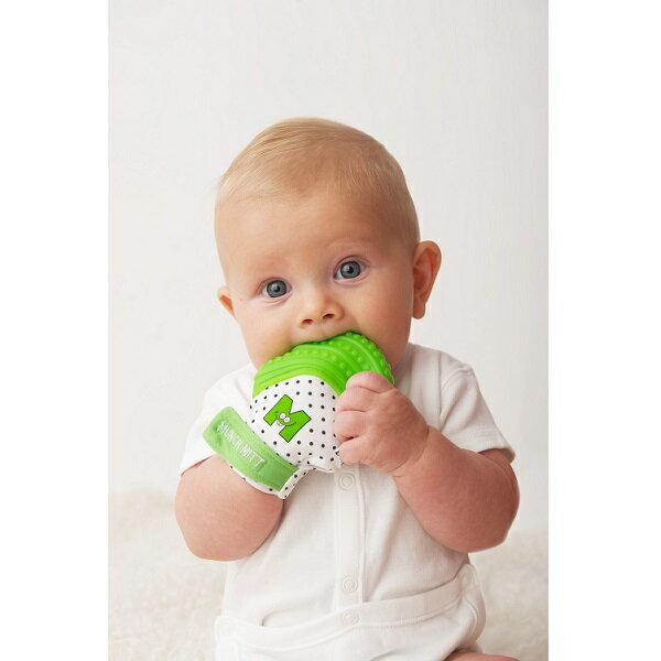 美國【Munch Mitt】手咬樂手套固齒器 (綠色) 3~8個月使用 2