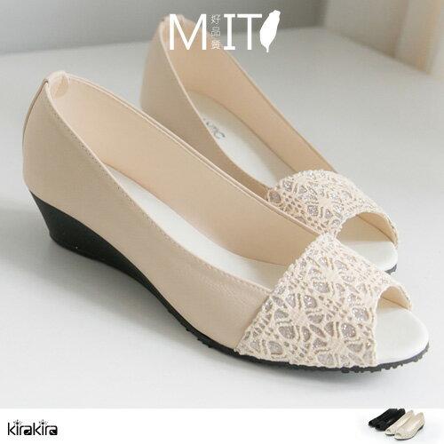 楔型鞋  SALE 優雅金蔥露趾魚口楔型鞋【011600078】