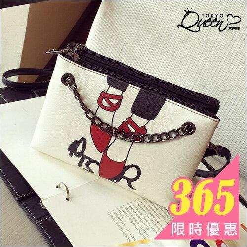韓版紅色高跟鞋鍊條雙隔層斜背包/化妝包.東京靚包.Basic.【AZX23342】