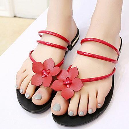 拖鞋 甜美花朵漆皮羅馬夾腳拖鞋【S1651】☆雙兒網☆ 1