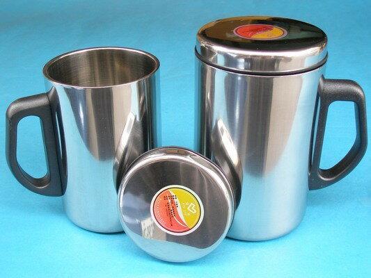 全不鏽鋼鋼杯 辦公杯加杯蓋(原色杯蓋)350ml/一個入{促90}
