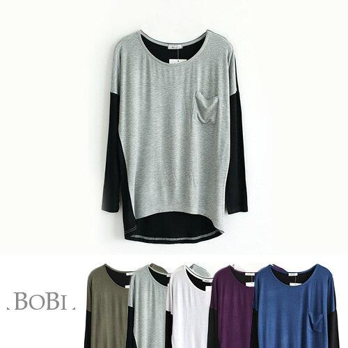 T恤 撞色莫代爾不規則蝙蝠長袖T恤【MZTX1302】 BOBI  10/27 0