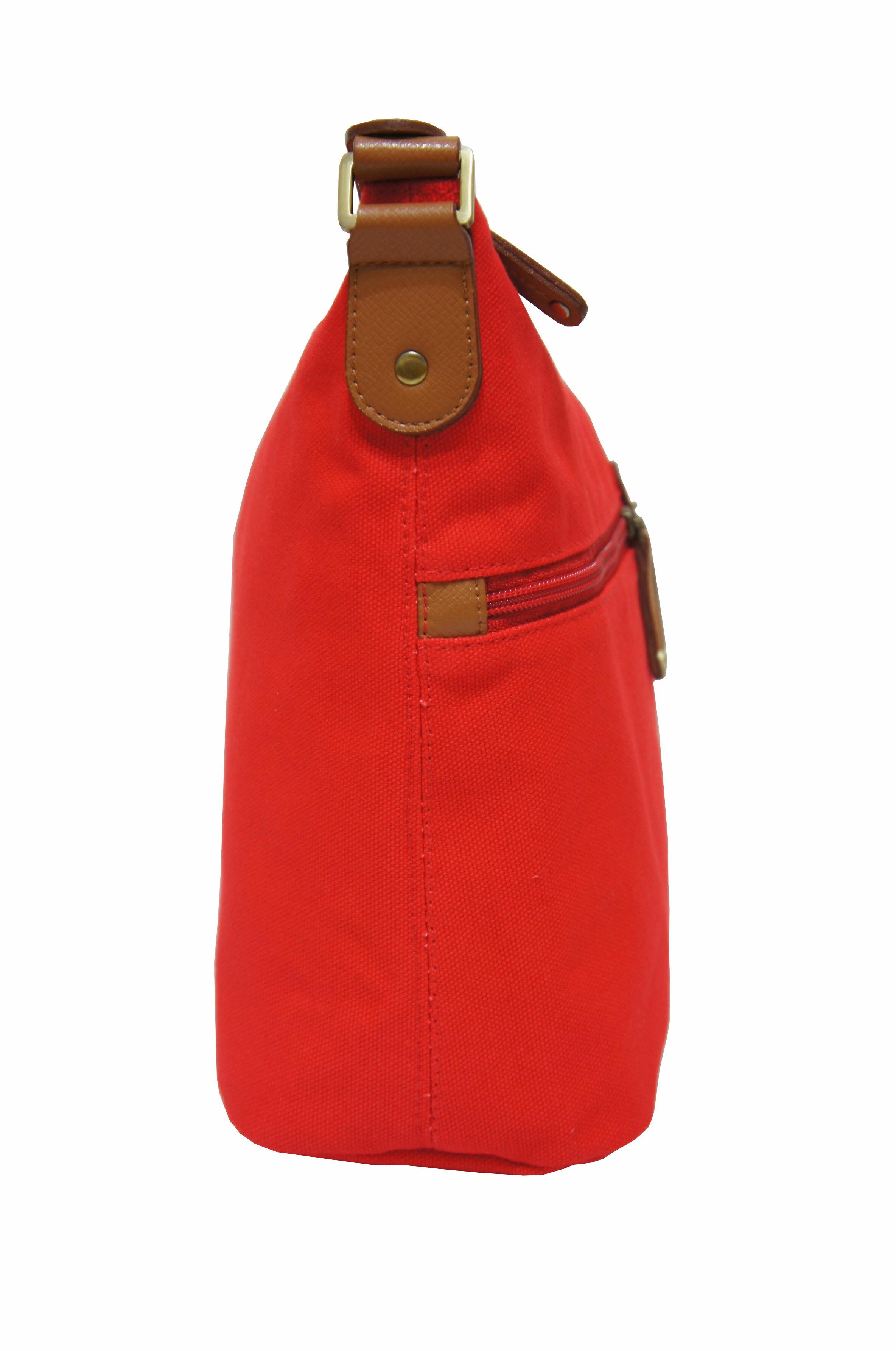 CP024帆布手提肩背包共2色 紅/馬卡龍綠 1
