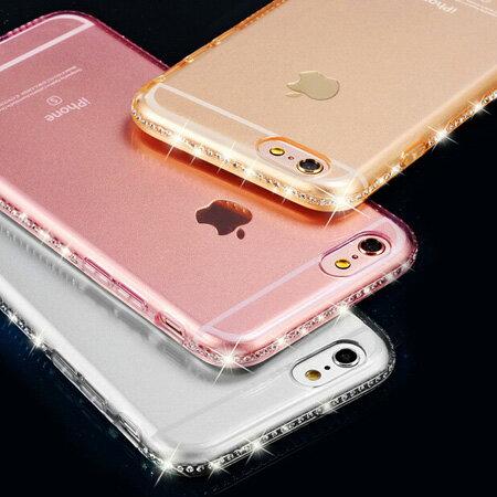 iPhone 6 6s Plus 低調奢華鑲鑽透明保護殼 TPU 軟殼 水鑽邊框 不掉鑽 手機殼 蘋果6【N201250】