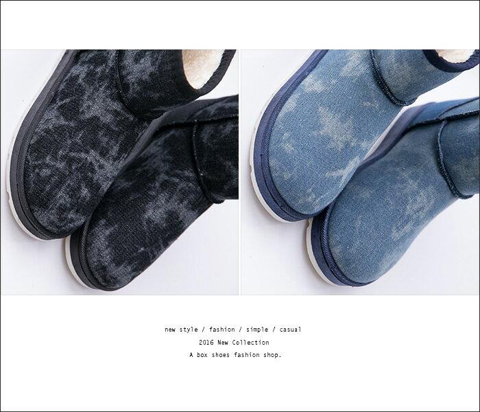 格子舖*【KR807】基本款百搭牛仔雪花紋帆布 保暖柔軟厚毛料 防滑膠底短筒雪靴 雪地靴 2色 2