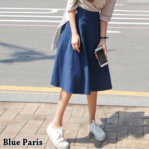 牛仔裙 ~ 大口袋 側邊拉鍊A字中長傘裙~23291~藍色巴黎~  ~  好康折扣