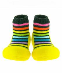 【本月特價$599】韓國【Attipas】快樂腳襪型學步鞋-彩虹黃底 - 限時優惠好康折扣