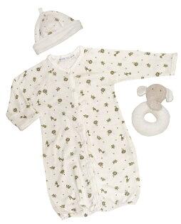 【好優Hoyo】美國Under The Nile有機棉寶寶衣帽玩具組(兩穿連身袍+雙面帽+小象固齒握環)~0-6個月