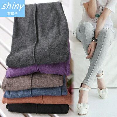 【2044】shiny藍格子-基本元素.百搭時尚女純色中線羊毛絨九分褲