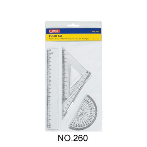 【三燕 COX 三角板組】260塑膠20cm尺組/三角尺/量角器(三角板/直尺/半圓)