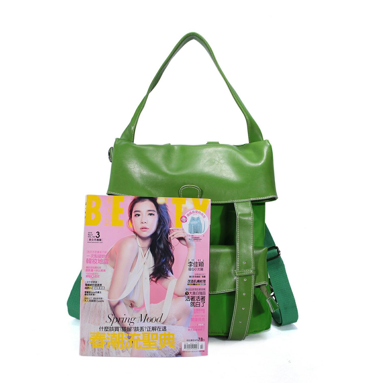 BEIBAOBAO夏季旅行防水布配真皮兩用後揹包(橄欖綠) 1