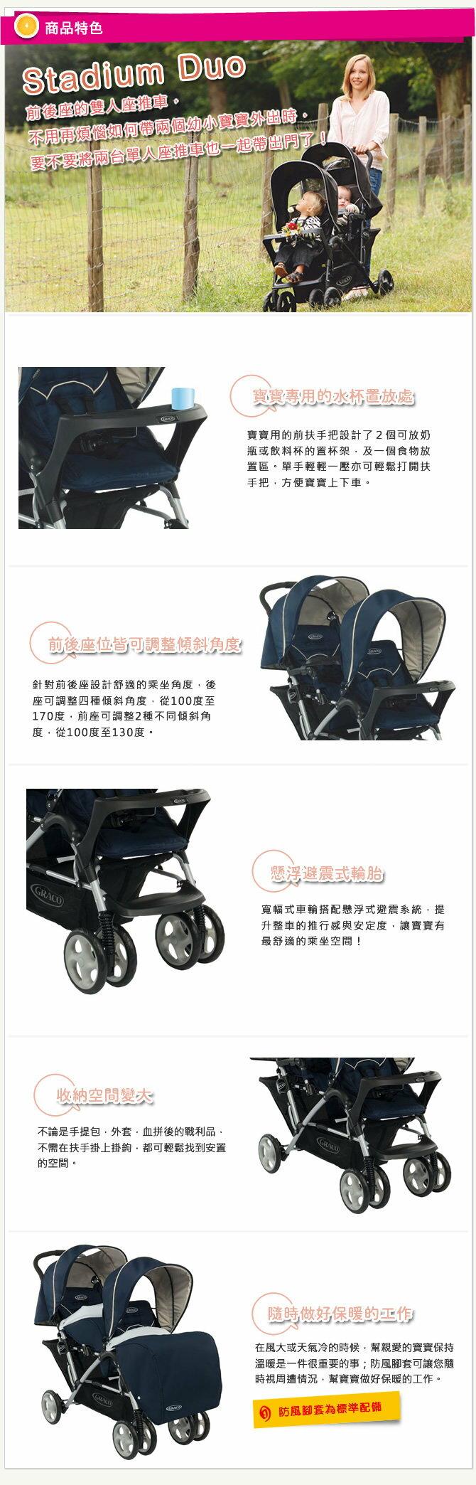 Graco - Stadium Duo 雙人前後座嬰幼兒手推車 城市雙人行 -天海藍 1