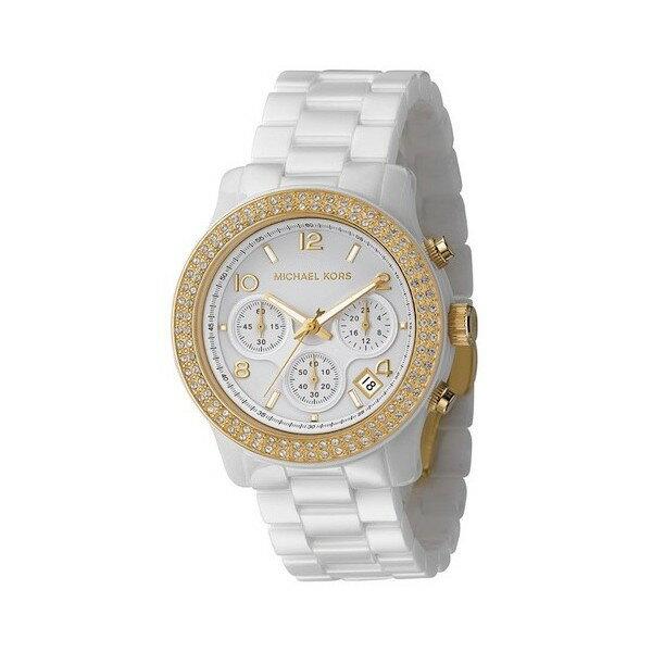 美國Outlet正品代購 MichaelKors MK 金色陶瓷 水鑽 三環 手錶 腕錶 MK5237 2