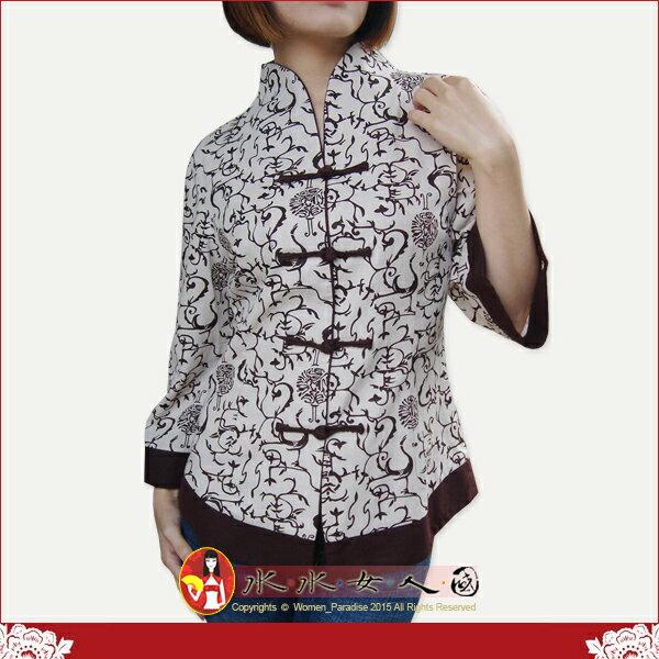 【水水女人國】~中國美穿在身~祥鶴。古典復古印花亞麻七分袖唐裝上衣外套