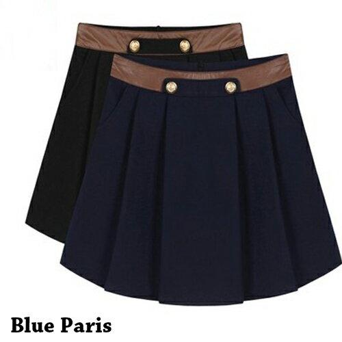 裙子 - 拼接皮革兩釦壓褶A字裙【23312】藍色巴黎《2色:M~L》現貨+預購 0