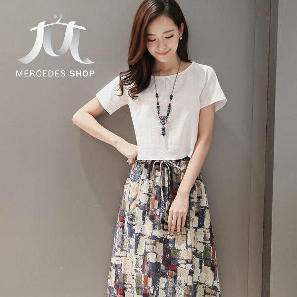 2件組│棉麻短袖上衣+中長裙