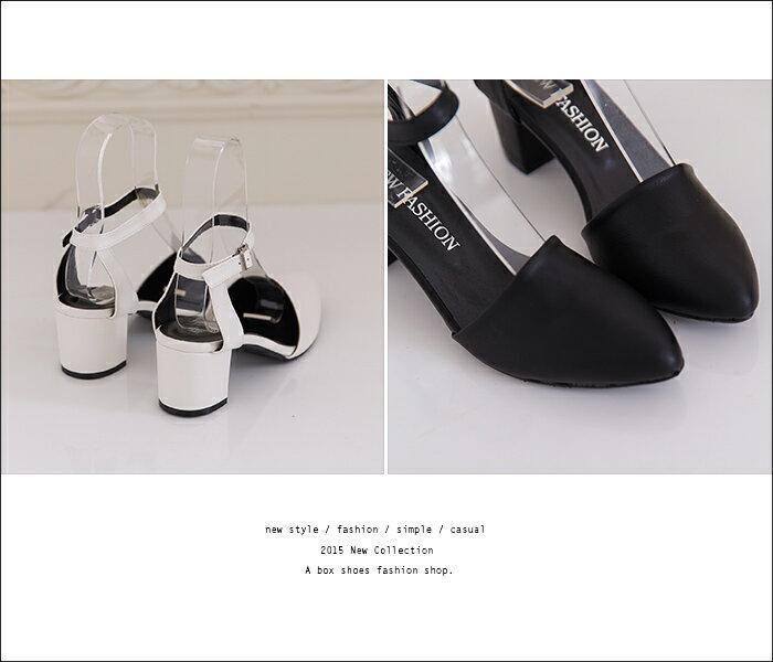 ★399免運★格子舖*【KDWA901】MIT台灣製 經典時尚質感素面皮革 尖頭粗高跟鞋 繞踝瑪莉珍鞋 4色 2